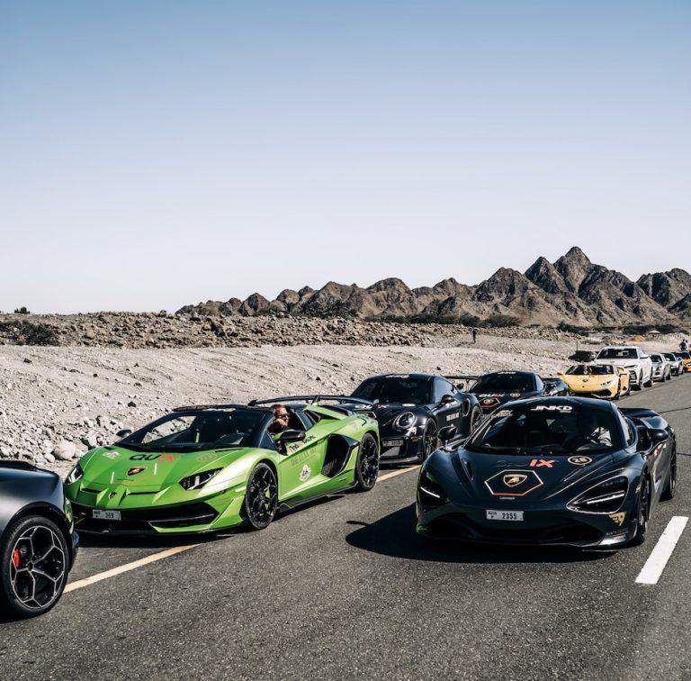 שיירה של רכבים אקזוטיים במדבר